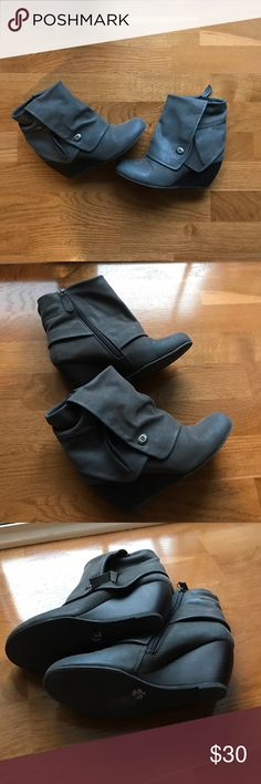 Blowfish Taupe Great Ankle Zip Wedge Boots Blowfish wedge boot. Size 7. Barely worn and in mint condition. Blowfish Shoes Ankle Boots & Booties