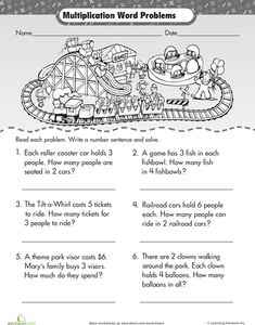 Second Grade Third Grade Multiplication Worksheets: Intro to Multiplication: Roller Coaster Word Problems Multiplication Problems, Multiplication Worksheets, The Words, Word Problems 3rd Grade, Third Grade Math, Second Grade, Elementary Math, Unit Plan, Numeracy
