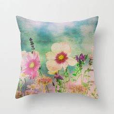 Wild Flowers, Field of Flowers, Fine Art photography Printed Accent Pillow Throw Pillow Cover Patio Cushions Home & Office Decor Floral Throw Pillows, Accent Pillows, Patio Cushions, Home Office Decor, Fabric Painting, Custom Pillows, Throw Pillow Covers, Fine Art Photography, Art Images