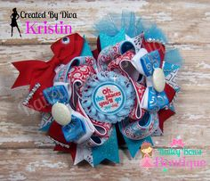 Love this Dr. Seuss Inspired Hair Bow! www.etsy.com/shop/baileybowsboutique www.facebook.com/baileybowsboutique
