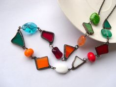 One of a kind stained glass necklace copper wire by ArtemisFantasy, $95.00