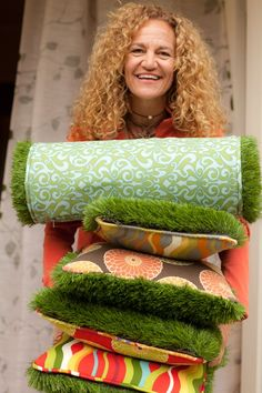 Firmly Planted - fake grass outdoor cushions, so cool!