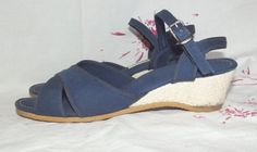Vintage 50s 60s Navy BLUE Canvas Wedge Sandals by IntrigueU4Ever, $25.99