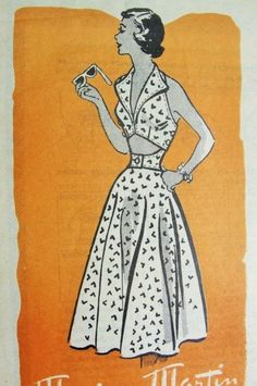 1950s Rockabilly Sun Beach 2 Pc  Dress Pattern Marian Martin 9332 Fab Wide Collar V Neck Cut Out Midriff Full Skirt  Bust 32 Vintage Sewing Pattern