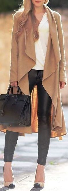 #fall #outfits / camel coat + leather
