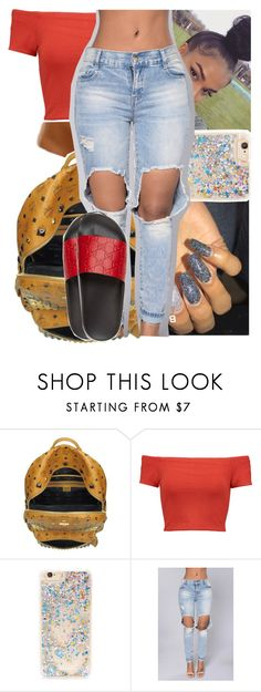 """""""' he say i'm hot, i'm so fuego ' """" by heeytyy ❤ liked on Polyvore featuring MCM, Alice + Olivia, Forever 21 and Gucci"""