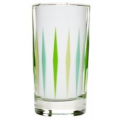 RETRO DIAMOND DINER GLASS GREEN  Want to update your kitchen to a 50s diner?! This vintage reproduction glass features an all over yellow & green retro diamond pattern. Keep that kitchen kitschy & classic!  $6.00