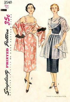 Simplicity 3540 Hypnotic Dress, Stole & Overskirt / ca. 1951