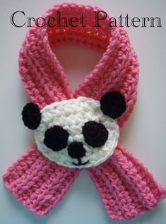 Ravelry: Crochet Panda Scarfette Scarf pattern by Lisa Casillas iwould use a lady bug Crochet Girls, Crochet Baby Hats, Knit Or Crochet, Crochet Scarves, Crochet For Kids, Crochet Shawl, Crochet Toys, Crochet Stitches, Crochet Patterns
