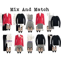 Mix and Match - Office/Work appropriate... I love the polkadot top and grey skirt option (bottom row middle).
