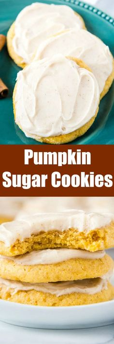 Pumpkin Sugar Cookies - soft and thick pumpkin cookies topped with a delicious cinnamon cream cheese frosting.