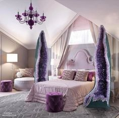 Bedroom Goals 😍💜 wow you would sleep like a log with these amethyst pillars next to your bed.Bedroom of dreams 🔮💎💜💫☮️ can anyone tell 1 of my favourite crystals is amethyst 💜 🔮 Crystal Furniture, Yoga Studio Design, Crystals In The Home, Crystal Decor, Crystal Bedroom Decor, Dream Bedroom, My Room, My Dream Home, House Design