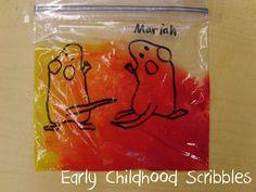 mélange de couleurs dans sac congélation ( album 3 souris peintres)