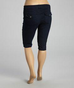Loving this Dark Blue Classic Denim Bermuda Shorts - Plus on #zulily! #zulilyfinds
