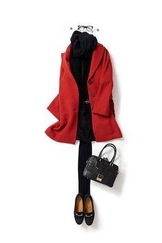 Retro red coat, black one piece mini dress, tights and flats. 60 Fashion, Fashion Mode, Office Fashion, Daily Fashion, Fashion Looks, Fashion Outfits, Womens Fashion, Mode Outfits, Winter Outfits