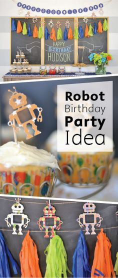 Planning a first birthday party can be intimidating, but this DIY Robot Birthday Party Idea has you covered—from the banners to the baked goods.