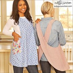 Crossback Reversible Apron sewing pattern by Indygo Junction – IndygoJunction Child Apron Pattern, Apron Pattern Free, Sewing Patterns Free, Pattern Sewing, Quilt Patterns, Sewing Hacks, Sewing Tutorials, Sewing Tips, Sewing Ideas