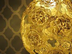 beautiful lamp handmade with doilies