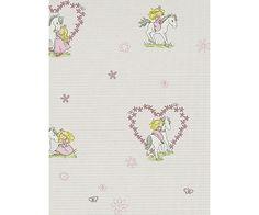 Girl Horse Love Rose Grey 7329-06 Wallpaper - Designer Wallpaper