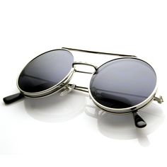 Last Time Around: Steampunk Vintage Inspired Retro Round Circle Flip Up Sunglasses 8795