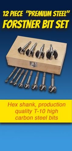 "12 Piece ""Premium Steel"" Forstner Bit Set: Hex shank, production quality T-10 high carbon steel bits have a longer life and the ability to hold a sharp edge longer. They cut hard woods like butter right out of the box! Wood storage box included. #woodworking"