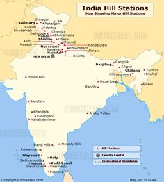 Map of India showing the location of all major hill stations in India. Hill Station, Gk Knowledge, General Knowledge Facts, India World Map, Book Fandoms Unite, Study Websites, India Gk, World Map Wall Decal, Travel