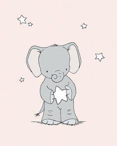 Elephant Nursery Art -- Pink and Grey Nursery Decor -- Baby Elephant Holds A Star -- Children Art Print, Kids Wall Art