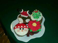 Cup cakes navideños de vainilla y chocolate!