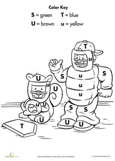Worksheets: Color by Letter: Playing Baseball
