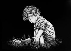 Original+5x7+Scratchboard+Art++LIFE+OF+A+CHILD+Portrait+Figurative+Etch+Drawing+#Realism