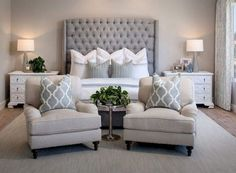 home decor bedroom Lovely Modern Farmhouse Bedroom Decor Ideas Romantic Master Bedroom, Master Bedroom Interior, Small Master Bedroom, Stylish Bedroom, Home Decor Bedroom, Master Bedroom Chairs, Classy Bedroom Ideas, Dream Bedroom, Bed Room