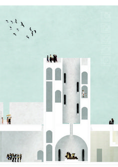 "Lisbon-based architect Maria Morais used collages and textures to represent her project ""The Tagus Baths: Spaces of Water and Light in Aterro da Boavista"". Image Courtesy of Maria Morais / KOOZA:RCH"