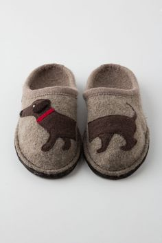 Haushund Wool Slippers - Anthropologie.com $78.00, Boiled wool upper, insole, cork molded footbed, polyurethane-dipped wool sole, By Haflinger (Germany)