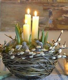 Ostara alter nest with candles