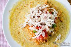 Receita de Burritos de Frango, ótimo para um almoço refrescante. Para ver a receita clique na imagem para ir ao Manga com Pimenta.