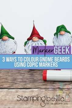 Video sharing three techniques for colouring beards or fur using Copic markers. Featuring Stamping Bella Gnomes Have Feelings Too rubber stamp set. Copic Markers, Copic Pens, Fall Tree Painting, Beard Colour, Texturizer On Natural Hair, Silhouette Cameo Tutorials, Artist Card, Coloring Tips, Christmas Drawing