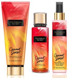 Victoria's Secret Coconut Sunset Collection - Caribbean coconut rum and white jasmine Perfume Glamour, Perfume Hermes, Perfume Versace, Pink Perfume, Perfume Bottle, Perfume Victoria Secret, Victoria Secret Body Spray, Victoria Secret Fragrances, Victoria Secret Pink