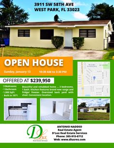 Homepage with properties slider ~ D'lux New Flyer, Open House, Flyers, Bedrooms, Join, Sunday, Appliances, Home And Garden, Florida