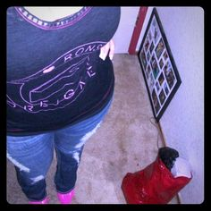 I  Ronson studded tank top Black and hot pink with studded neckline ronson Tops Tank Tops