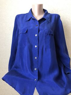 💙 St Michael Mark Spencer Royal Blue Button Shirt 100% Cupro Size UK 16 (US 10)  | eBay