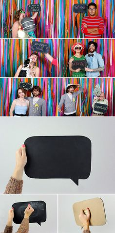 Photobooth Idea - Crepe paper backdrop and chalkboard speech bubble Wedding Photo Booth Props, Diy Photo Booth, Photobooth Idea, Wedding Blog, Our Wedding, Wedding Photos, Diy Fotokabine, Event Planning, Wedding Planning