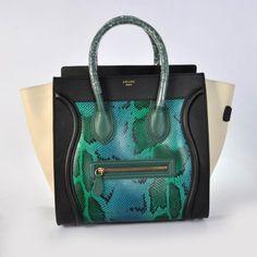 Celine Boston Black Green Smile Leather Bag $335.00