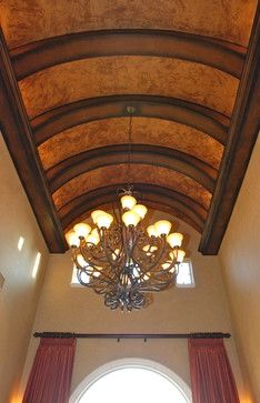 Barrel Ceiling Treatment with faux finish and massive chandelier provides drama! Barrel Ceiling, Dome Ceiling, Ceiling Lights, Ceiling Treatments, Wood Trim, Fashion Lighting, Wainscoting, Ceiling Design, Wine Cellar