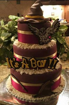 Harry Potter theme cake @letsdrinknbmary                                                                                                                                                                                 More