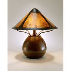 Dirk Van Erp (1860-1933) - Lamp with Shade. Hammered Copper and Mica Paneled Shade. 26""