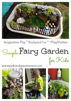 Pink and Green Mama: Simple Fairy Garden for Kids #playmatters #fairygarden