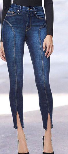 9a099b0a623 New Arrival Split Solid Elastic Women Jeans