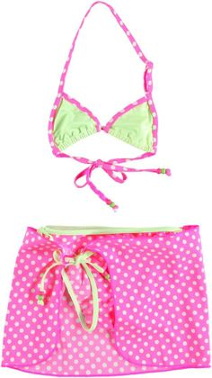 Leuke gestipte bikini van Retour Jeans met een los zwemrokje.  Retour Jeans Eliana www.kidsindustry.nl