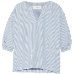 The Great Striped cotton and linen-blend blouse (1.335 BRL) ❤ liked on Polyvore featuring tops, blouses, blue, blue blouse, stripe top, blue striped top, stripe blouse and v neck blouse