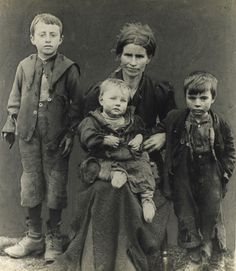 A poor East End mother with her young children, 1880s. A Poor House or Work House most often was the only option or no one would eat. Families were separated. How bleak for mothers like this.